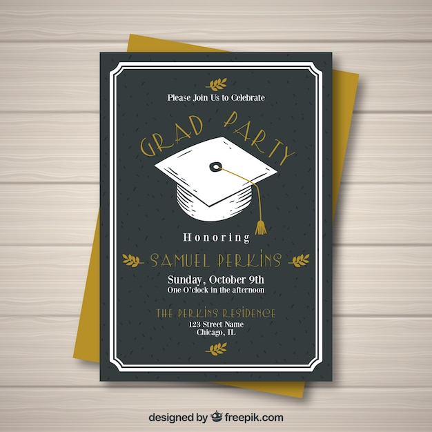 black graduation party invitation vector free download