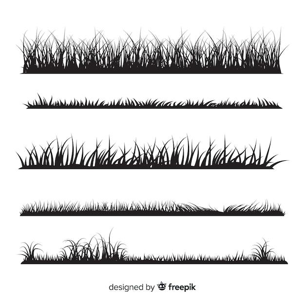 Black grass border silhouettes collection Premium Vector