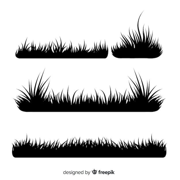 free vector black grass border silhouettes collection black grass border silhouettes collection