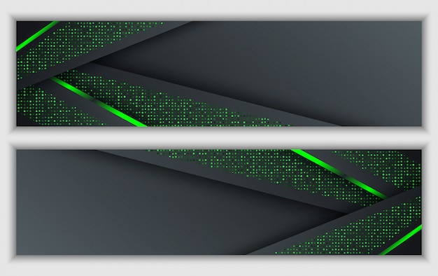 Black green abstract corporate banner with glowing neon glitter technology background Premium Vector