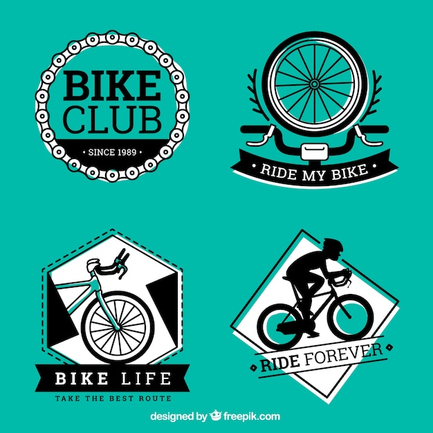 Black and green bike labels Free Vector