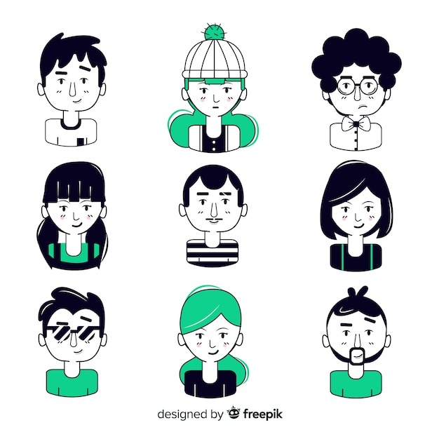 Black and green hand drawn people avatar Free Vector
