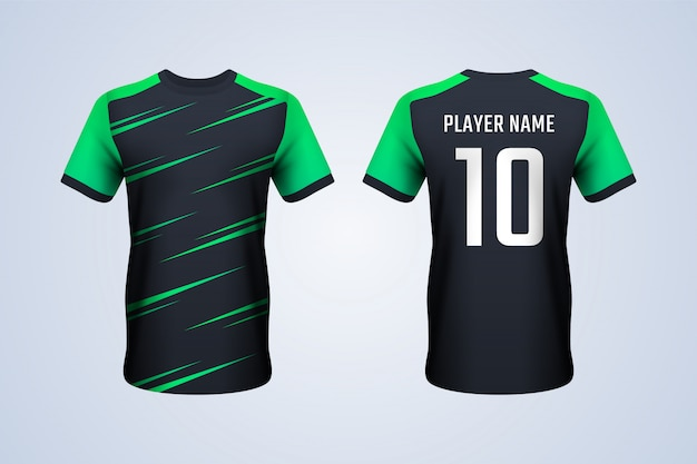 black and green soccer jersey template vector premium