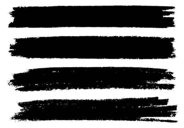 Черные гранж кисти баннеры Premium векторы
