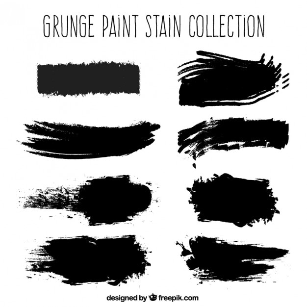 Black grunge paint stains Free Vector