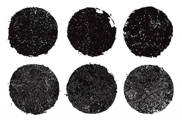 黒グランジラウンドフレーム Premiumベクター