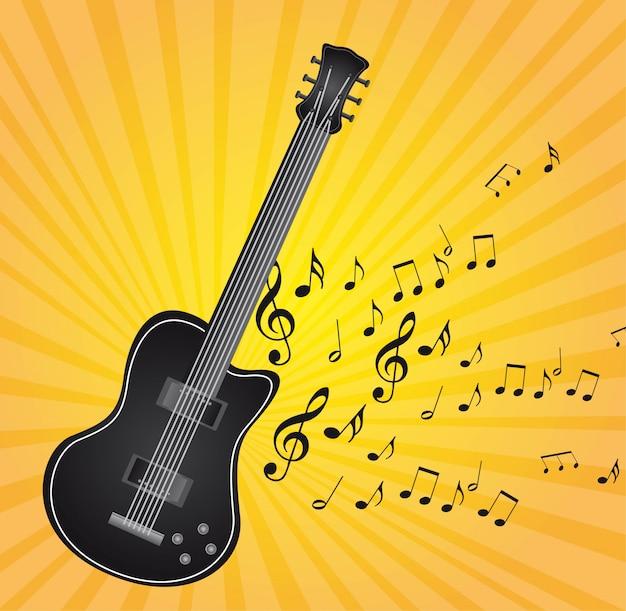 Черная гитара с нотами на желтом фоне Premium векторы