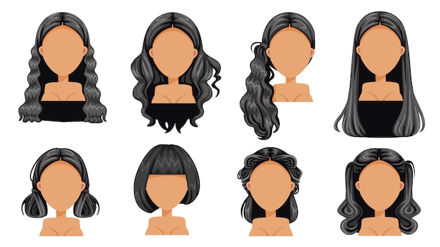 Black hair beautiful  hairstyle black hair woman set. modern fashion for assortment. long hair, short hair, fringe, curly hair salon hairstyles and trendy haircut vector Premium Vector