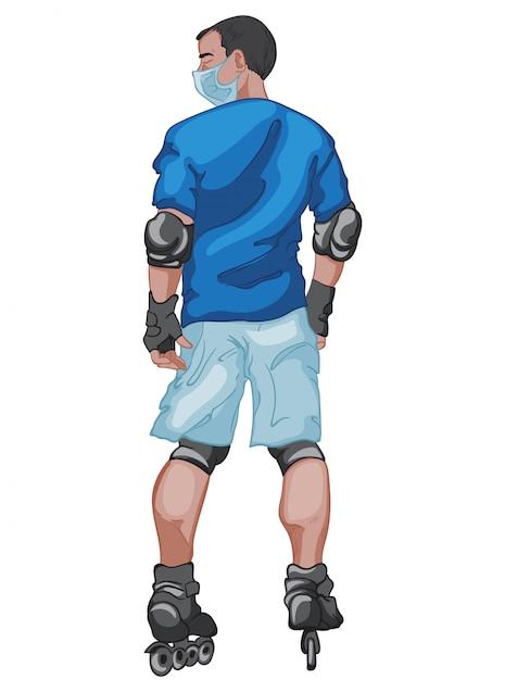 그가 롤러 블레이드를 타는 동안 외과 마스크를 쓰고 파란색 티셔츠와 반바지를 입은 검은 머리 남자 무료 벡터