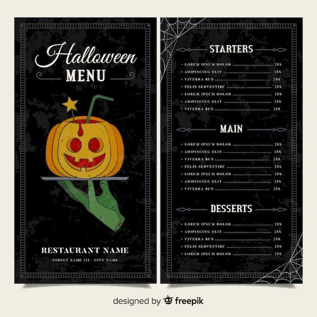 Black halloween menu template Free Vector