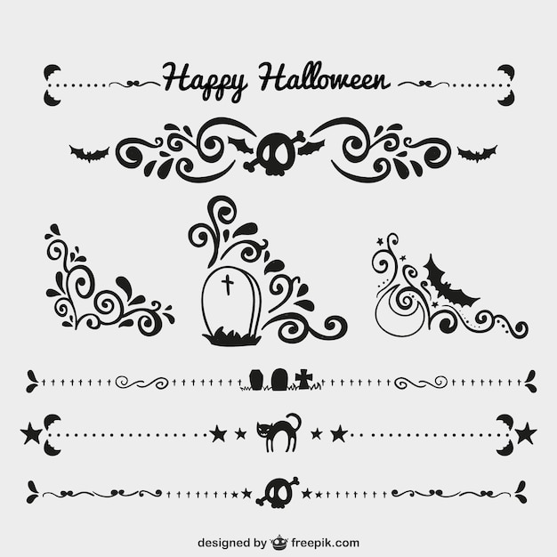 Halloween Vector Black And White.Black Halloween Ornaments And Page Dividers Vector Free Download