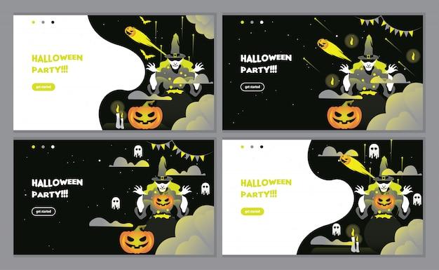 Black halloween party invitation landing page Premium Vector