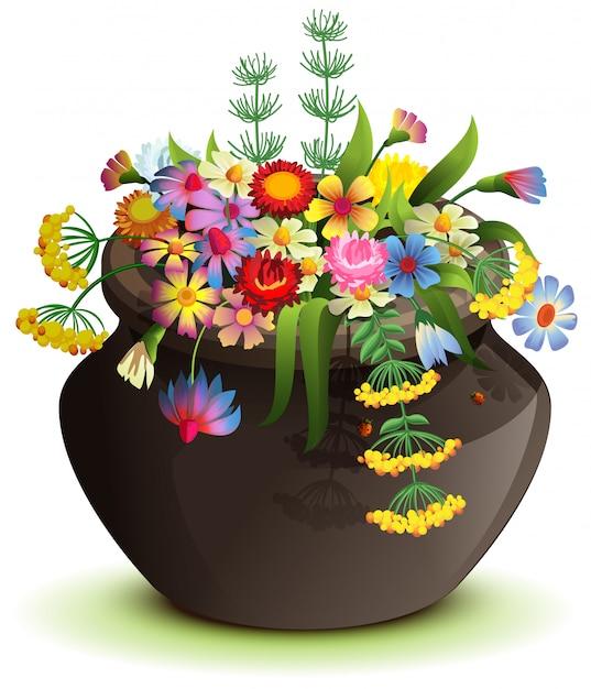 Black halloween pot with wildflowers. cartoon illustration isolated on white Premium Vector