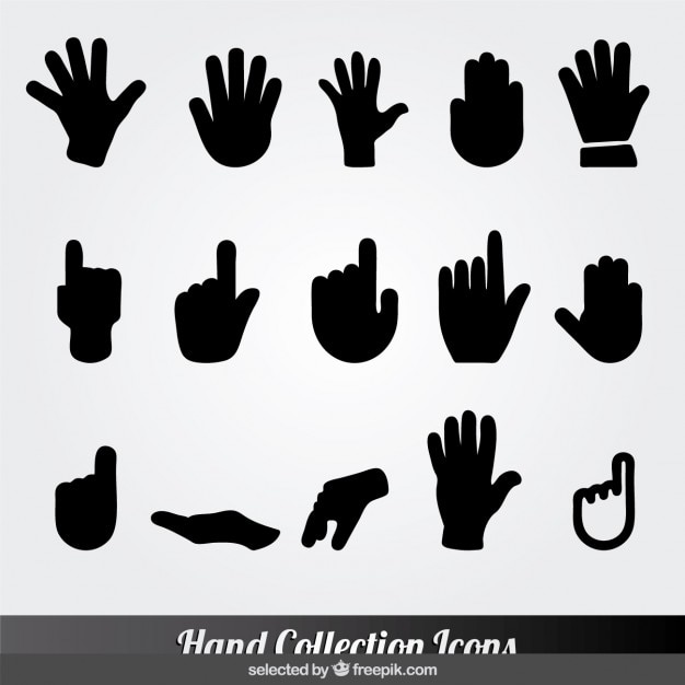 Black hand collection icons Free Vector