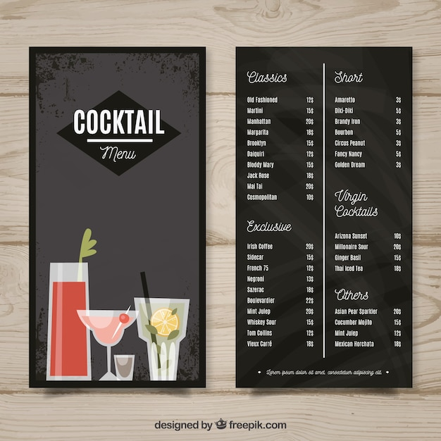Black hand drawn menu template for cocktails Free Vector
