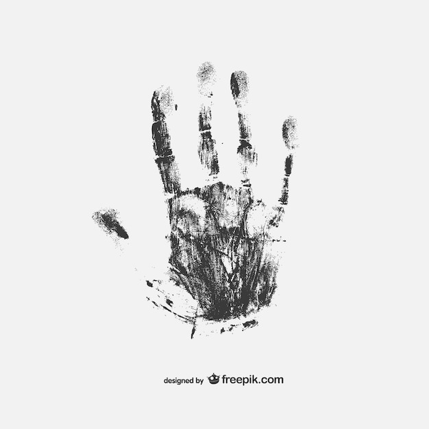 black hand print vector free download