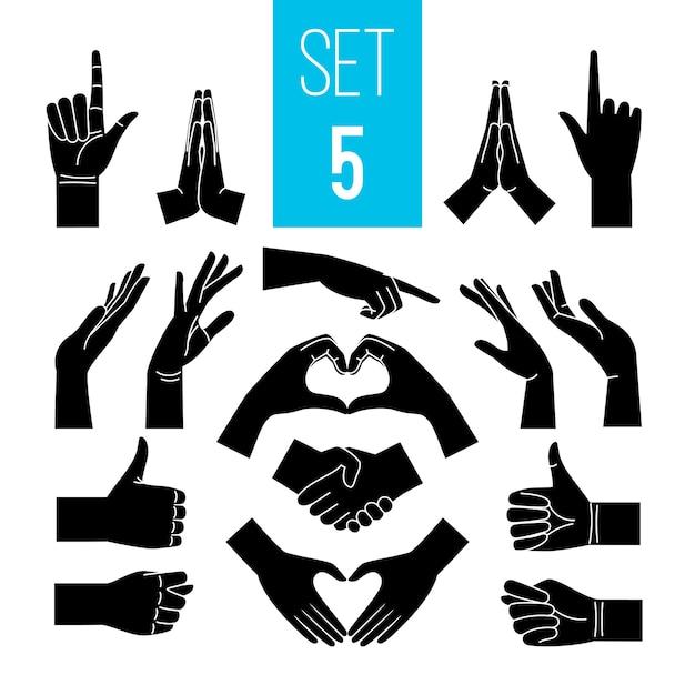 Черные жесты руками. рука и рука иконы, жест графические знаки, векторные женщины жесты силуэты изолированные Premium векторы