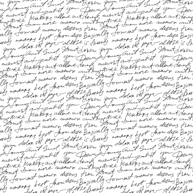 Black handwritten text on white repetition background. Premium Vector