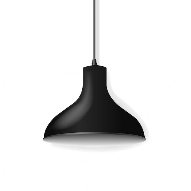 Black hanging lamp isolated Premium Vector
