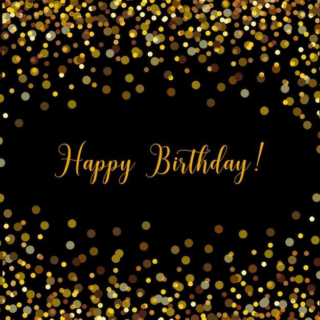 Black Happy Birthday Card With Gold Confetti Vector Premium Download