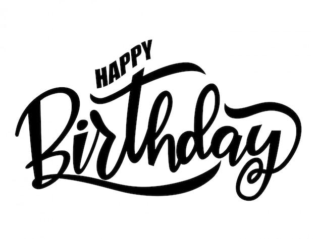 black happy birthday words vector premium download rh freepik com birthday logo images birthday logos free