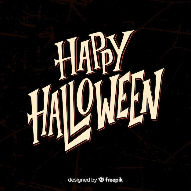 Black happy halloween lettering Free Vector
