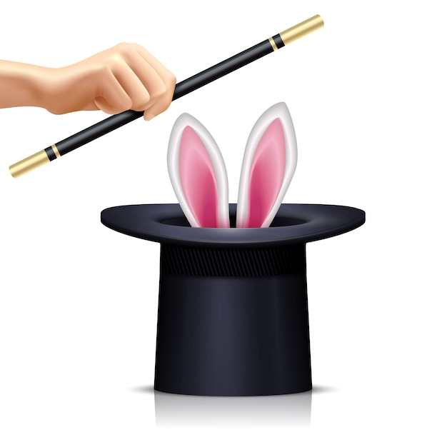 Black hat with rabbit for illusionist tricks and hand holding magic wand on white background realistic isolated vector illustration Free Vector
