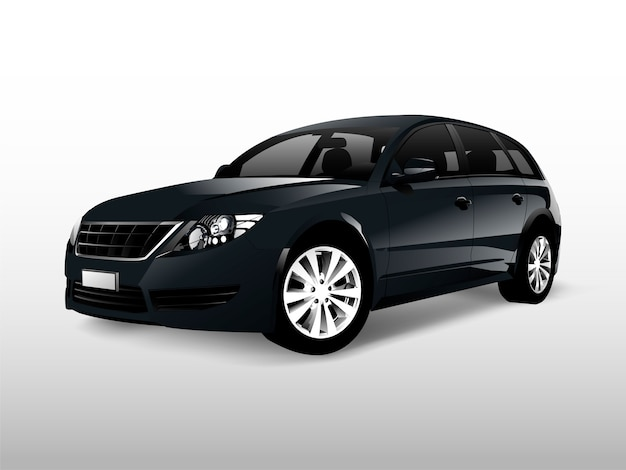 Black hatchback car isolated on white vector Free Vector