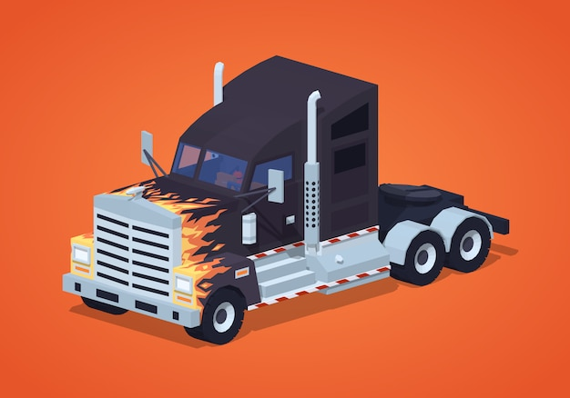 Black heavy 3d lowpoly isometric truck with the fire pattern Premium Vector