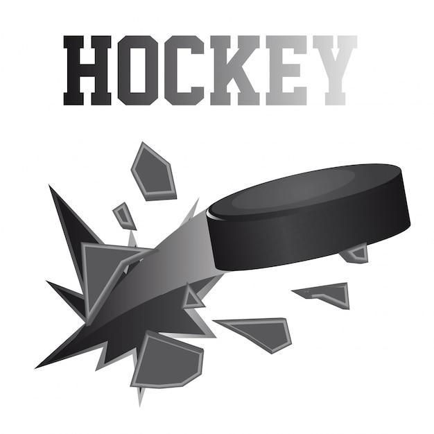 Black hockey puck brokes isolated vector illustration Premium Vector