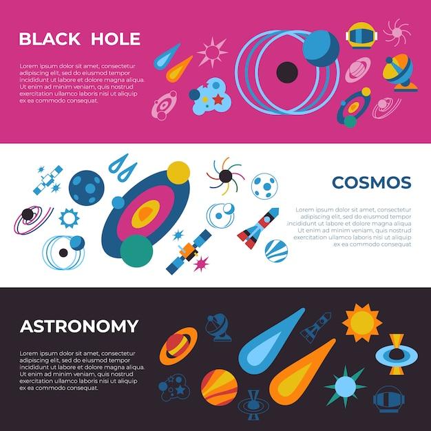 Black holes and cosmos icons Premium Vector