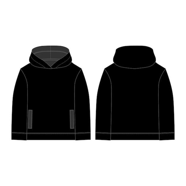 子供用の黒いパーカー。テクニカルスケッチフーディ。 Premiumベクター