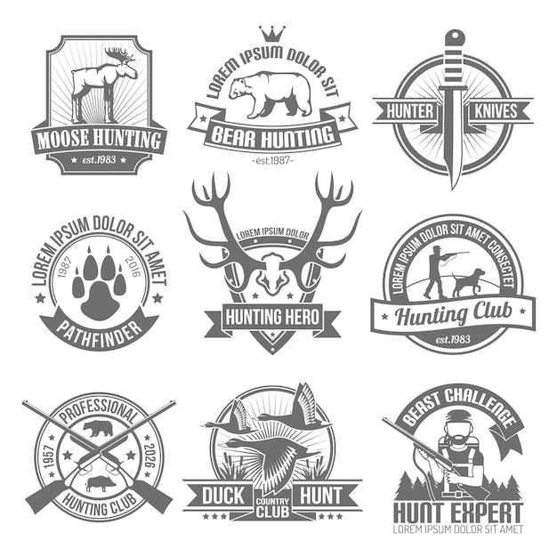 Black hunting emblems set Free Vector
