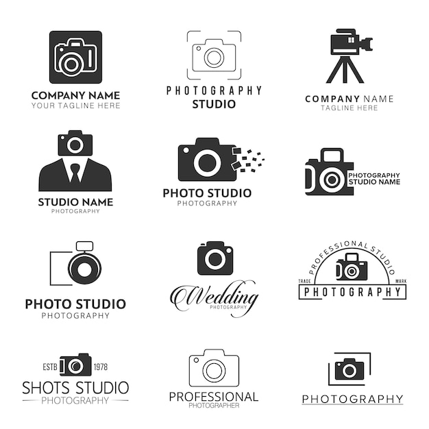 Black icons for photographers Free Vector
