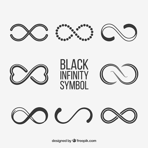 Black Infinity Symbol Collection Vector Free Download