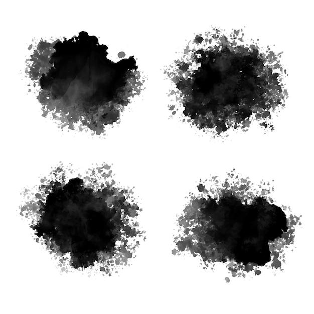 Gocce di inchiostro nero acquerello schizzi astratti design Vettore gratuito