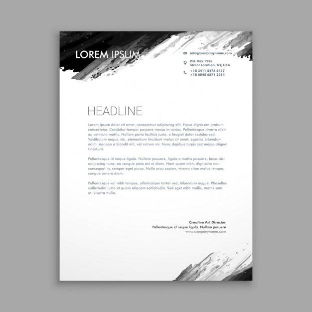 29 Corporate Letterhead Templates Doc Psd: Black Ink Letterhead Vector