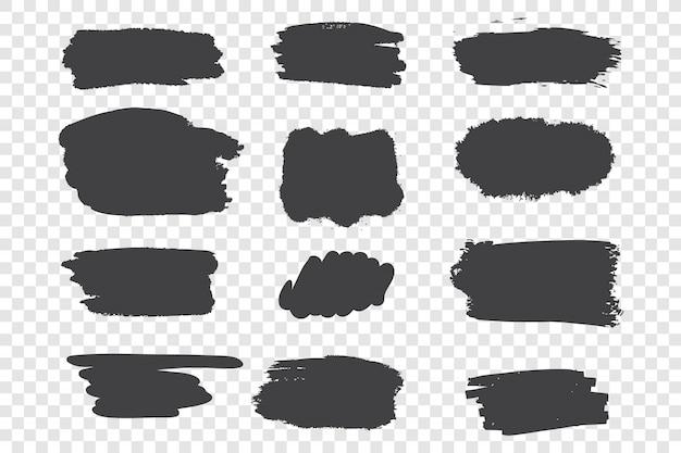 Black ink strokes set Premium Vector