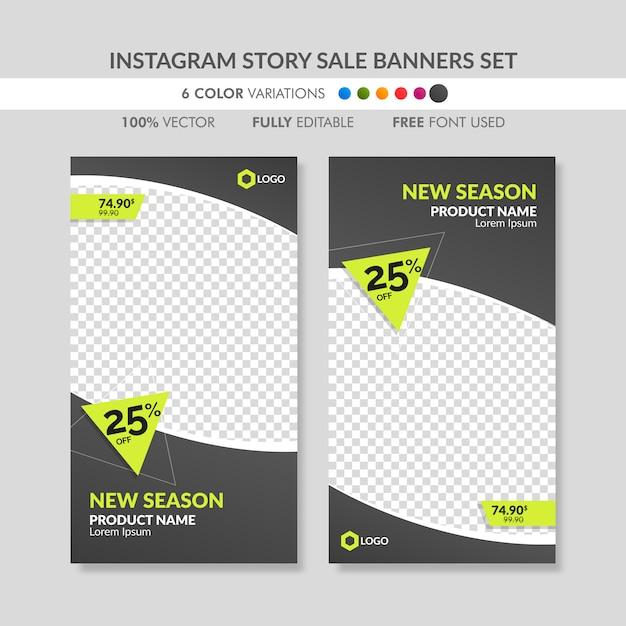Black instagram story sale banner templates set Premium Vector
