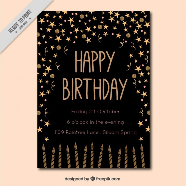 Black invitation card with golden elements Free Vector