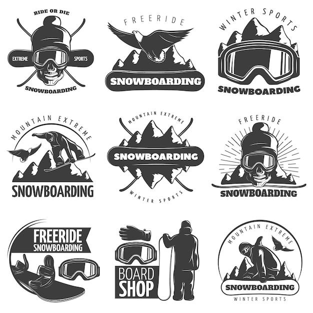 L'emblema isolato nero dell'emblema di snowboard con i titoli guida o muore l'illustrazione di vettore del negozio dell'estremità della montagna degli sport invernali di giro libero e del bordo Vettore gratuito
