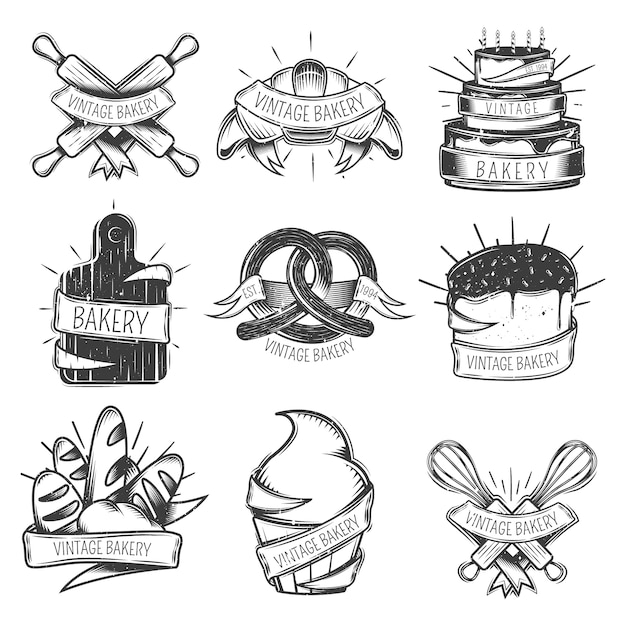 Black isolated vintage bakery icon set with ribbons and place for headlines vector illustration Free Vector