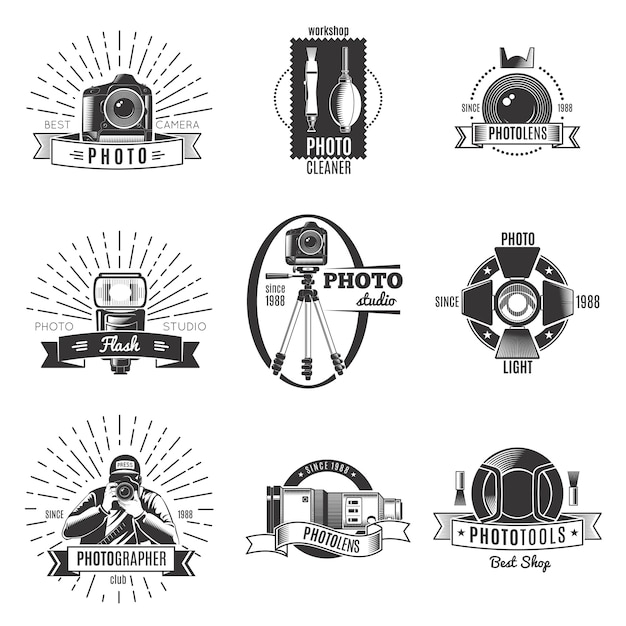 Black isolated vintage photographer logo set with best camera workshop photocleaner photolens descriptions Free Vector