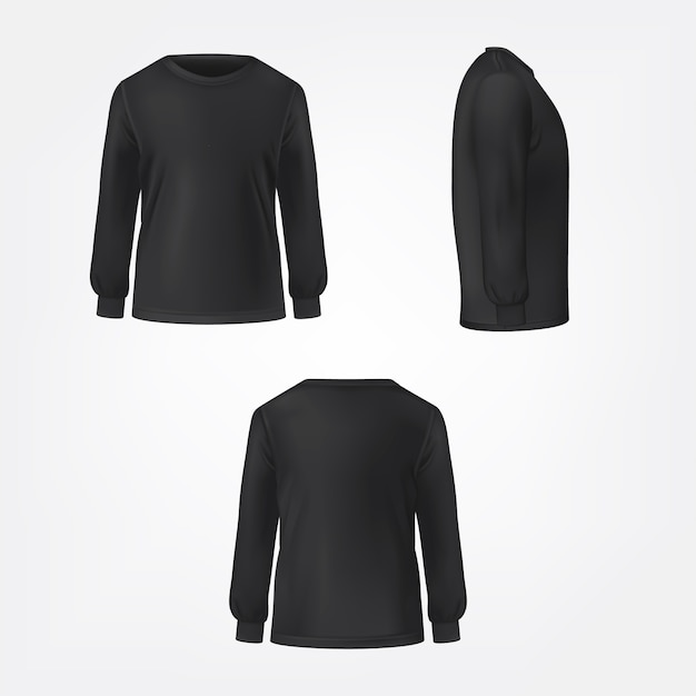 Black jumper three sides view realistic vector Free Vector