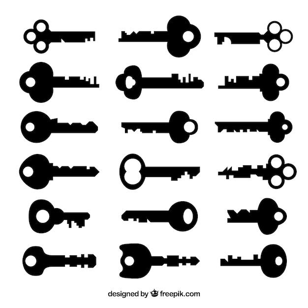 Коллекция черных ключей Бесплатные векторы