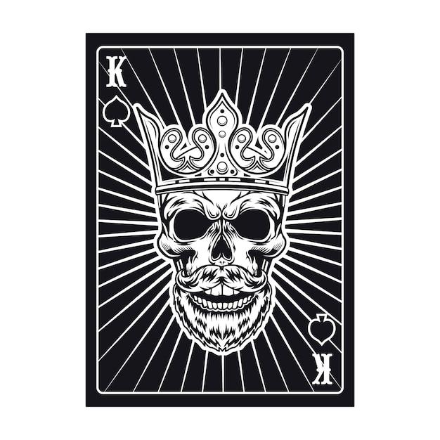トランプの黒い王の頭蓋骨。スペード 無料ベクター