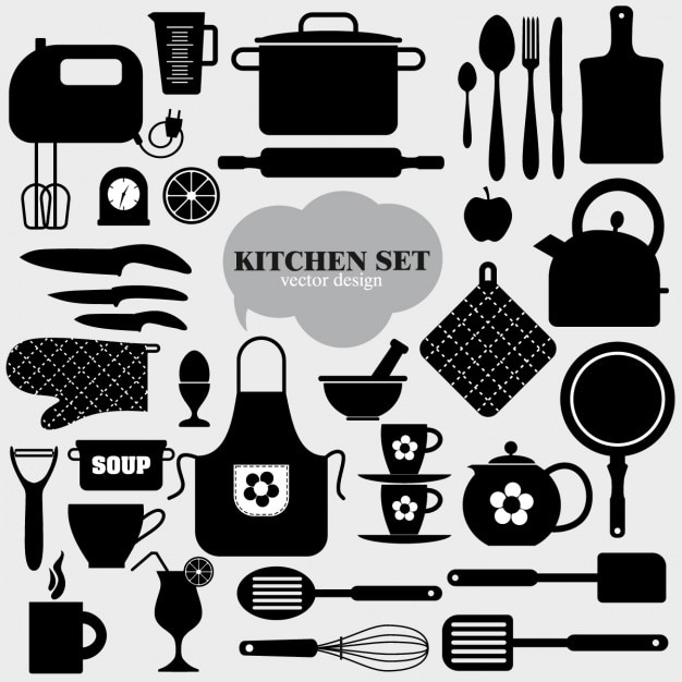 Black kitchen elements Free Vector