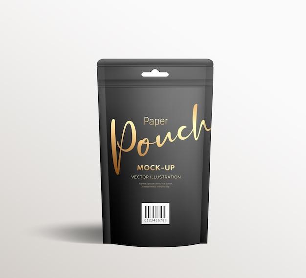 黒のクラフト紙ポーチバッグ、正面図のパッケージは、灰色の背景にテンプレートデザインをモックアップします Premiumベクター