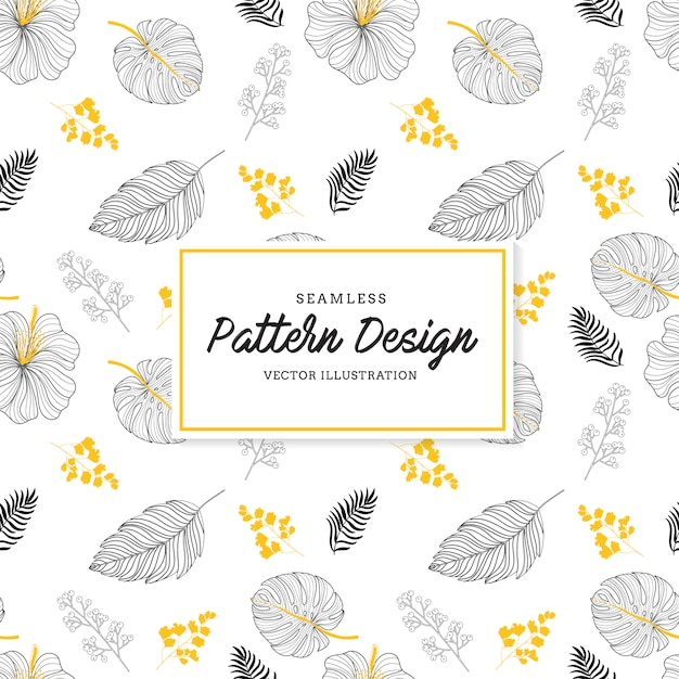 Black leaves pattern background Free Vector