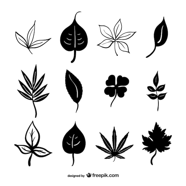 black leaves silhouettes vector